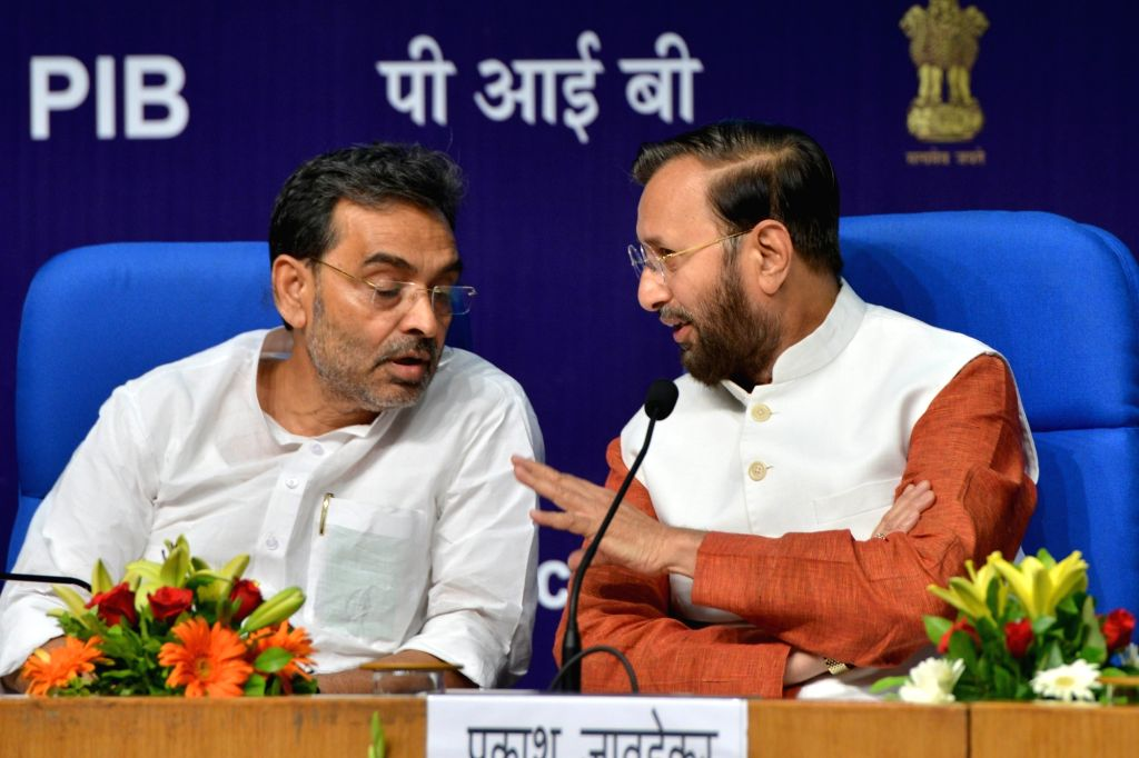Union Human Resource Development (HRD) Minister Prakash Javadekar and Union MoS HRD Upendra Kushwaha during the launch of 'Samagra Shiksha', in New Delhi on May 24, 2018. - Prakash Javadekar