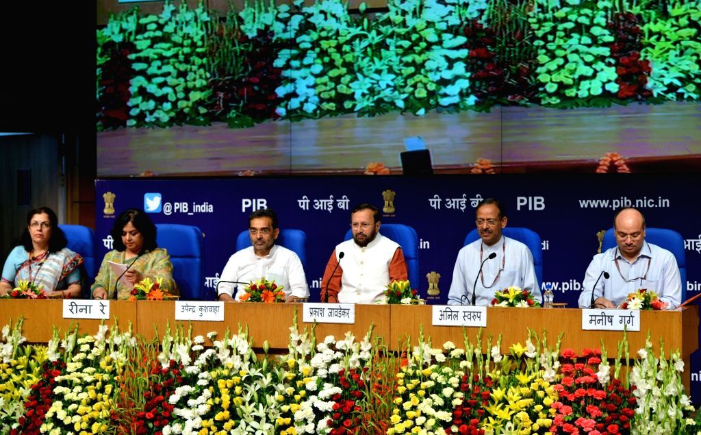 Union Human Resource Development (HRD) Minister Prakash Javadekar, Union MoS HRD Upendra Kushwaha and other dignitaries during the launch of 'Samagra Shiksha', in New Delhi on May 24, ... - Prakash Javadekar