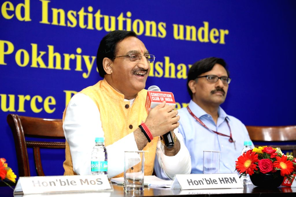 Union Human Resource Development Minister Dr. Ramesh Pokhriyal 'Nishank' chairs a meeting with the Directors of all IITs and IIITs, in New Delhi on June 14, 2019. - D