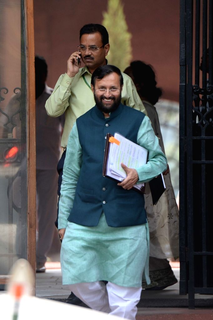 Union Human Resource Development Minister Prakash Javadekar comes out after Cabinet Meeting at South Block in New Delhi on Sept 28, 2016. - Prakash Javadekar