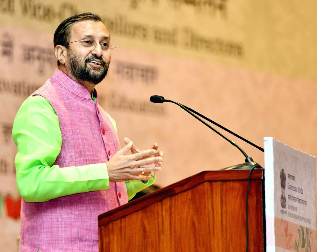 Union Human Resource Development Minister Prakash Javadekar addresses during the National Conference of Vice-Chancellors and Directors, in New Delhi, on July 27, 2018. - Prakash Javadekar