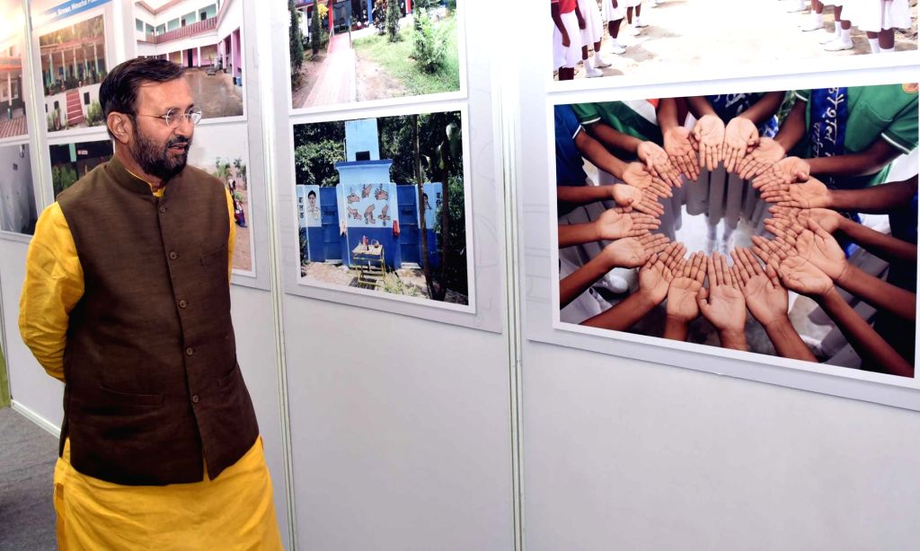 Union Human Resource Development Minister Prakash Javadekar visits an exhibition during the presentation of the Swachh Vidyalaya Puraskar 2017-18, in New Delhi on Sept 18, 2018. - Prakash Javadekar