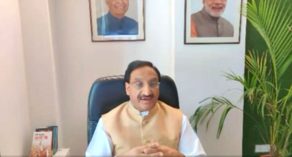 Union Human Resource Development Minister Ramesh Pokhriyal Nishank interacts with parents from across India through video conferencing in New Delhi during the extended nationwide lockdown ... - Ramesh Pokhriyal Nishank