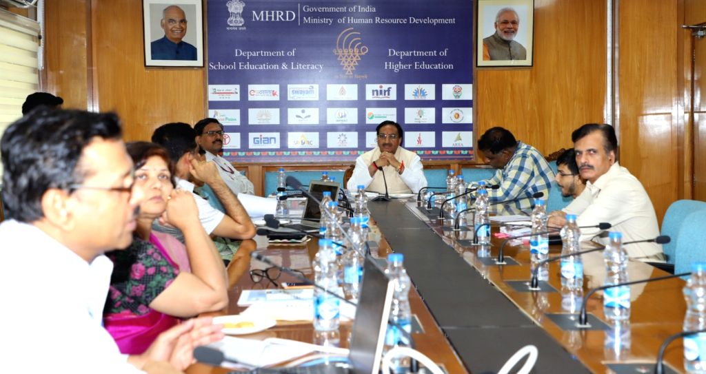 Union Human Resource Development Minister Ramesh Pokhriyal 'Nishank' chairs a high level review meeting, in New Delhi on June 6, 2019. - Ramesh Pokhriyal