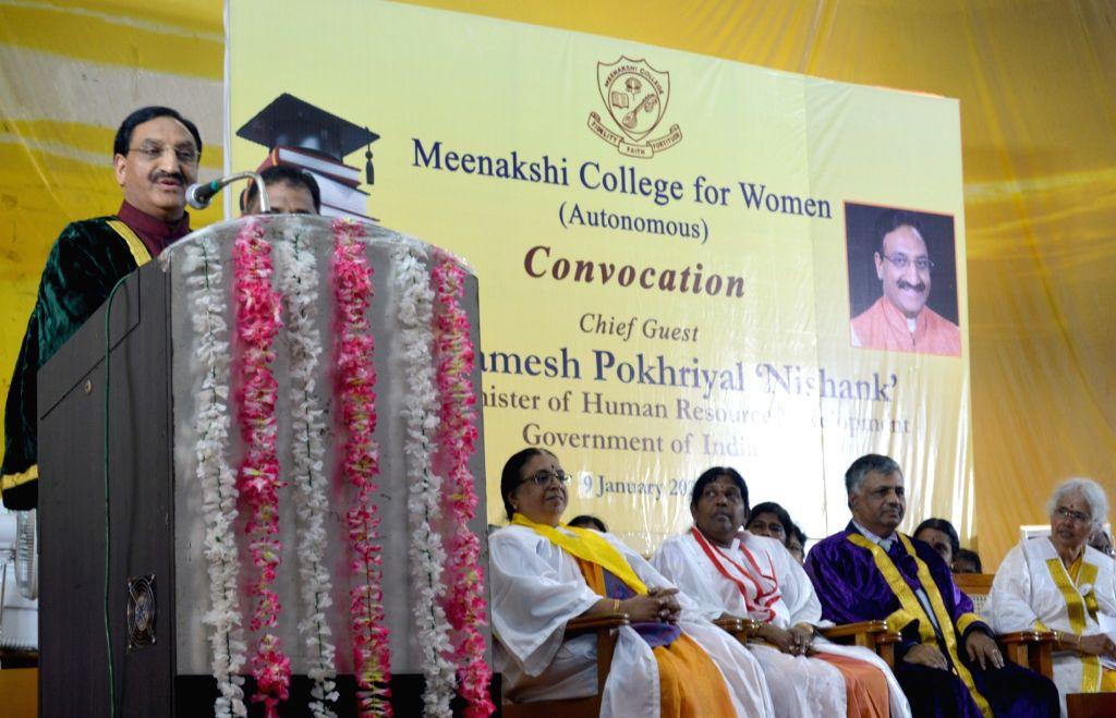 Union Human Resource Development Minister Ramesh Pokhriyal 'Nishank' addresses at the 42nd Convocation of Meenakshi College for Women, in Chennai on Jan 9, 2020. - Ramesh Pokhriyal