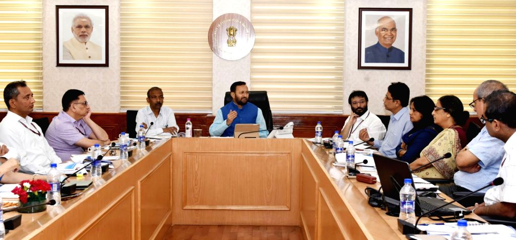 Union Information and Broadcasting Minister Prakash Javadekar meets the senior officials of the ministry, in New Delhi on June 3, 2019. - Prakash Javadekar