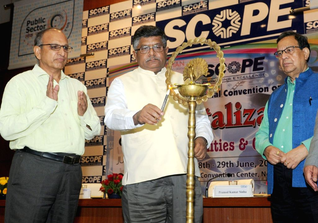 Union Information Technology Minister Ravi Shankar Prasad addresses at the inauguration of  a national convention on ''Digitalization: Opportunities and Challenges'', in New Delhi on June ... - Ravi Shankar Prasad