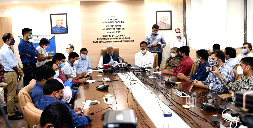 Union Jal Shakti Minister Gajendra Singh Shekhawat holds a press meet on the 2nd meeting of the Apex Council for Krishna-Godavari river water sharing, in New Delhi on Oct 6, 2020. - Gajendra Singh Shekhawat