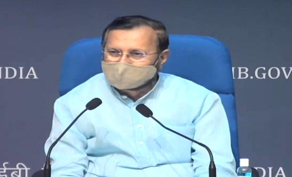 Union Jal Shakti Minister Gajendra Singh Shekhawat briefs the media on Cabinet decisions, in New Delhi on Oct 29, 2020. - Gajendra Singh Shekhawat