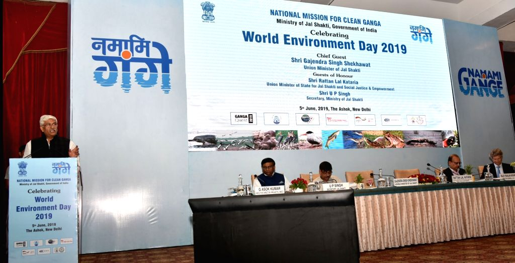 Union Jal Shakti Minister Gajendra Singh Shekhawat addresses at a programme on National Mission for Clean Ganga (NMCG) organized by the Ministry of Jal Shakti, on World Environment Day, in ... - Gajendra Singh Shekhawat