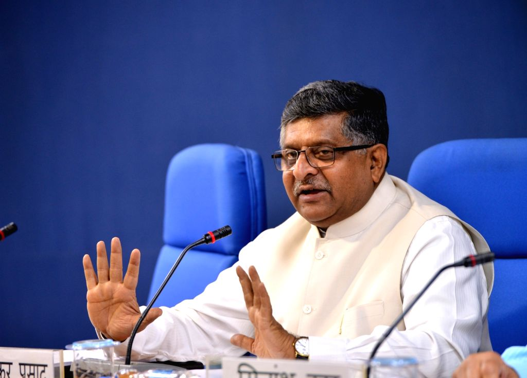 Union Law and Justice and Electronics and Information Technology Minister Ravi Shankar Prasad addresses a press conference, in New Delhi on May 23, 2018. - Ravi Shankar Prasad