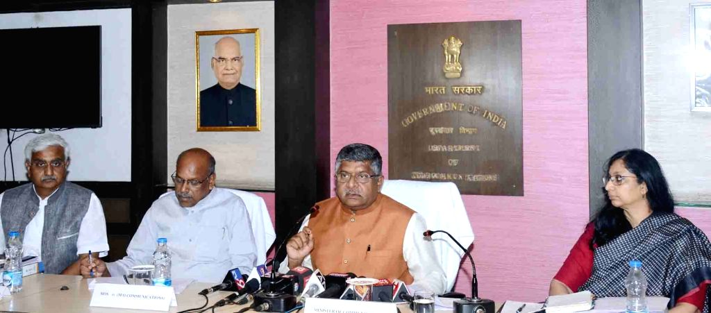 Union Law and Justice, Communications and Electronics and Information Technology Minister Ravi Shankar Prasad addresses a press conference, in New Delhi on June 3, 2019. Also seen MoS ... - Ravi Shankar Prasad