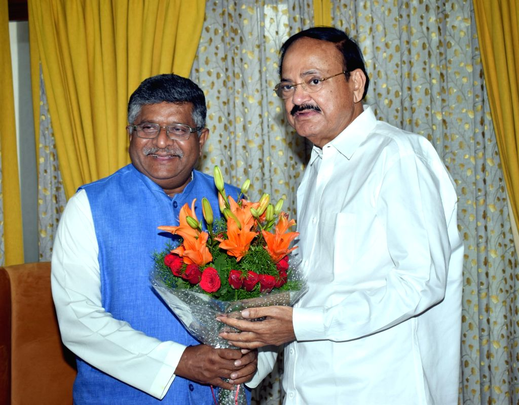 Union Law and Justice, Communications and Electronics and Information Technology Minister Ravi Shankar Prasad meets Vice President M. Venkaiah Naidu, in New Delhi on June 13, 2019. - Ravi Shankar Prasad and M. Venkaiah Naidu