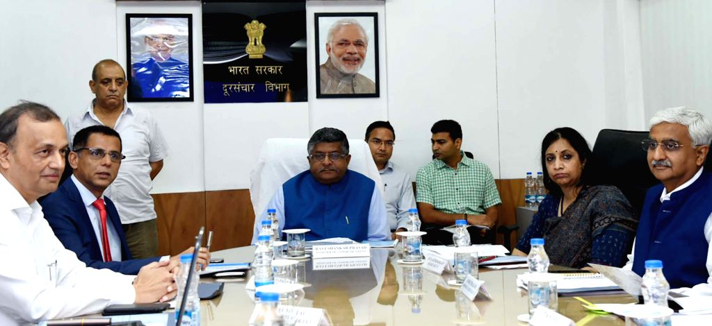Union Law and Justice, Communications and Electronics and Information Technology Minister Ravi Shankar Prasad during a meeting with the CEOs of Telecom companies, in New Delhi on July 27, ... - Ravi Shankar Prasad