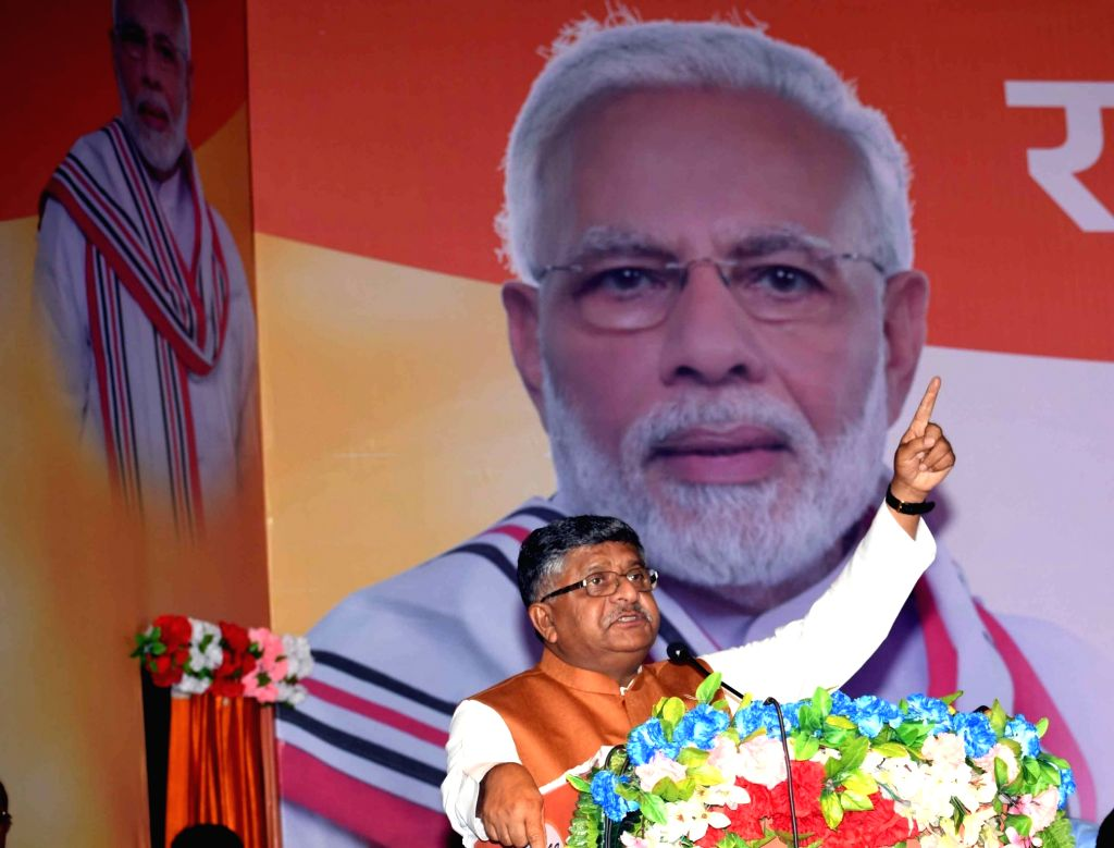 Union Law and Justice, Communications and Electronics and Information Technology Minister Ravi Shankar Prasad addresses during the 'Janjagran' meeting on Article 370 of the Constitution ... - Ravi Shankar Prasad