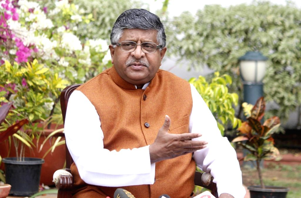 Union Law and Justice, Electronics and Information Technology and Communications Minister Ravi Shankar Prasad addresses a press conference regarding the upcoming District Development ... - Ravi Shankar Prasad