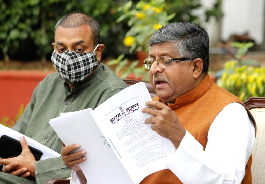 Union Law and Justice, Electronics and Information Technology and Communications Minister Ravi Shankar Prasad addresses a press conference on the upcoming J&K elections, at his ... - Ravi Shankar Prasad