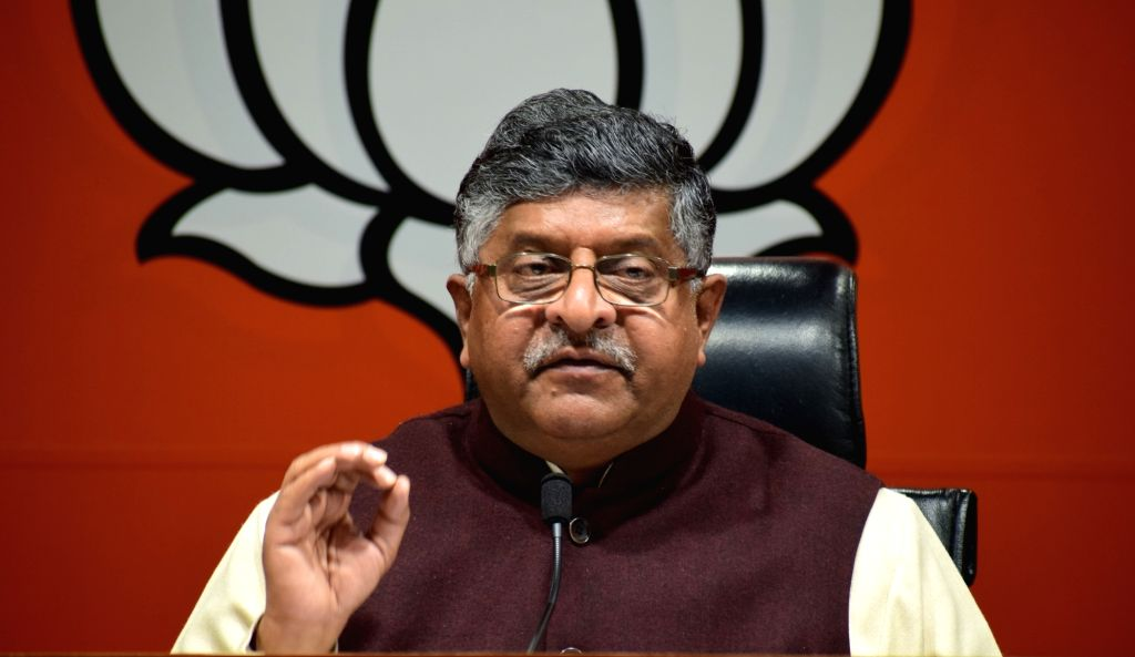 Union Law Minister and BJP leader Ravi Shankar Prasad addresses a press conference, in New Delhi, on March 5, 2019.