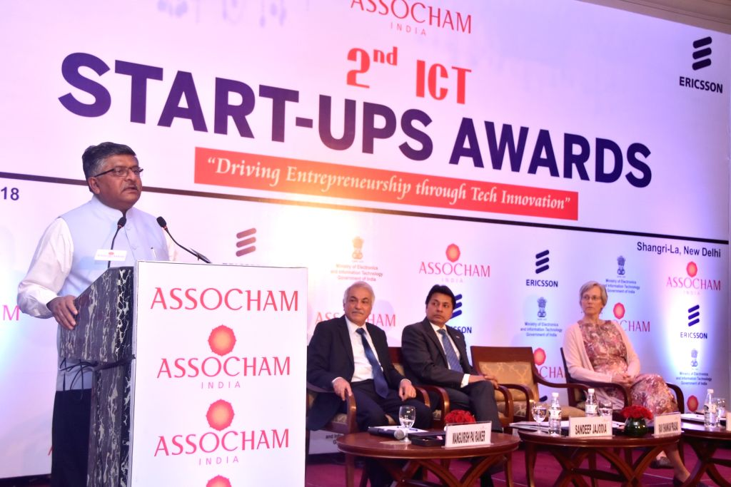 Union Law Minister Ravi Shankar Prasad addresses during ASSOCHAM – Ericsson ICT Start-Ups Awards 2018 in New Delhi on April 26, 2018. Also seen MSME Council Chairman Mangurish Pai ... - Ravi Shankar Prasad