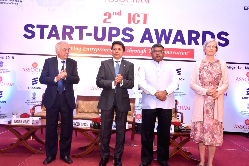 Union Law Minister Ravi Shankar Prasad, MSME Council Chairman Mangurish Pai Raikar, ASSOCHAM President Sandeep Jajodia and Ericsson Global Vice President-IPR Policy Monica Magnusson during ... - Ravi Shankar Prasad