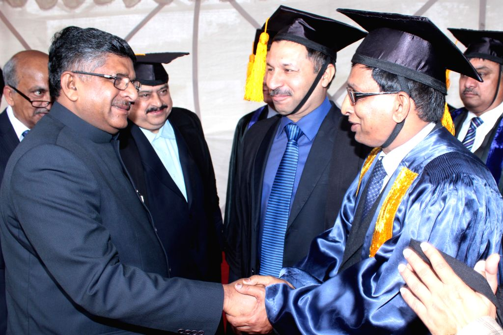 Union Law Minister Ravishankar Prasad during 22nd Annual Convocation of National Law School of India in Bangalore on Aug 31, 2014. - Ravishankar Prasad