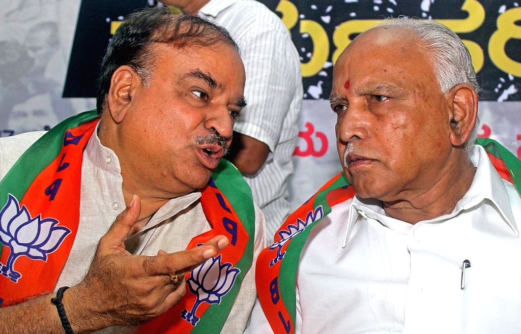 Union Minister and BJP leader Anant Kumar and BJP President BS Yeddiyurappa during a party emergency meeting in Bengaluru on June 26, 2017. - Anant Kumar