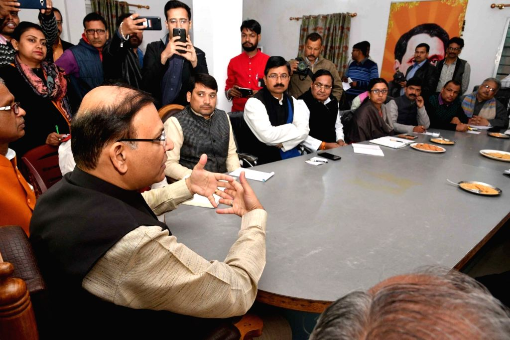 Union minister and BJP leader Jayant Sinha addresses during a party meeting in Patna on Feb 12, 2018. - Jayant Sinha