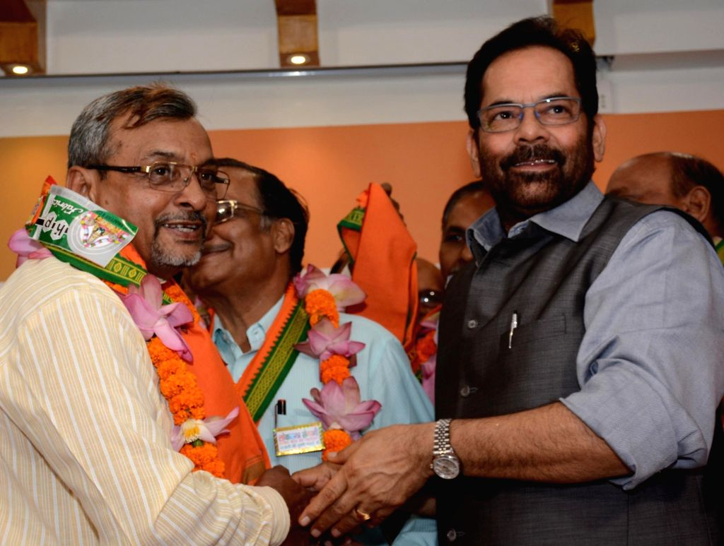 Union Minister and BJP leader Mukhtar Abbas Naqvi during a programme organised on 1975-77 Emergency in Lucknow on June 26, 2016.