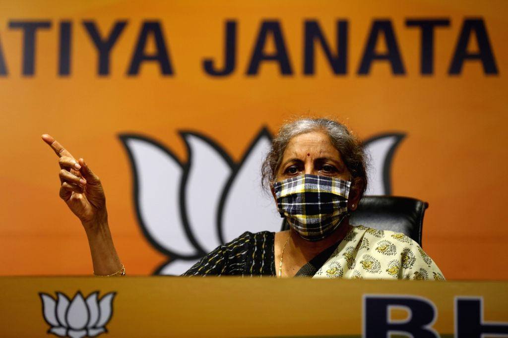 Union Minister and BJP leader Nirmala Sitharaman addresses a press conference at the party's headquarters, in New Delhi on Oct 24, 2020.