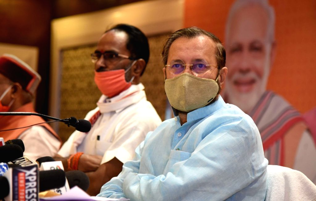 Union Minister and BJP leader Prakash Javadekar addresses a press conference on the eve of Bihar Assembly elections, in Patna on Oct 27, 2020.