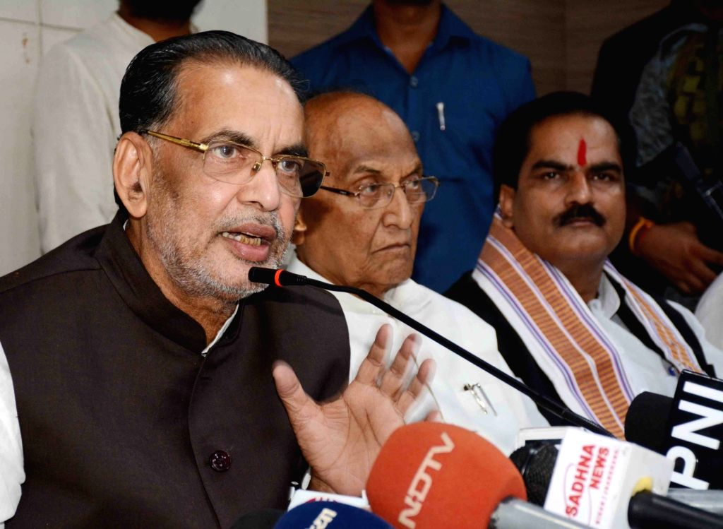 Union Minister and BJP leader Radha Mohan Singh addresses a press conference at the party office, in Patna on July 7, 2018. - Radha Mohan Singh