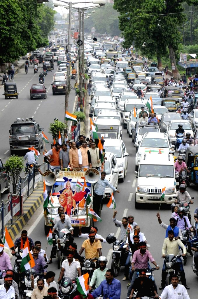 Union Minister and BJP leader Ravi Shankar Prasad during Tiranga Yatra ahead of 71st Independence Day celebrations in Patna on Aug 12, 2017.