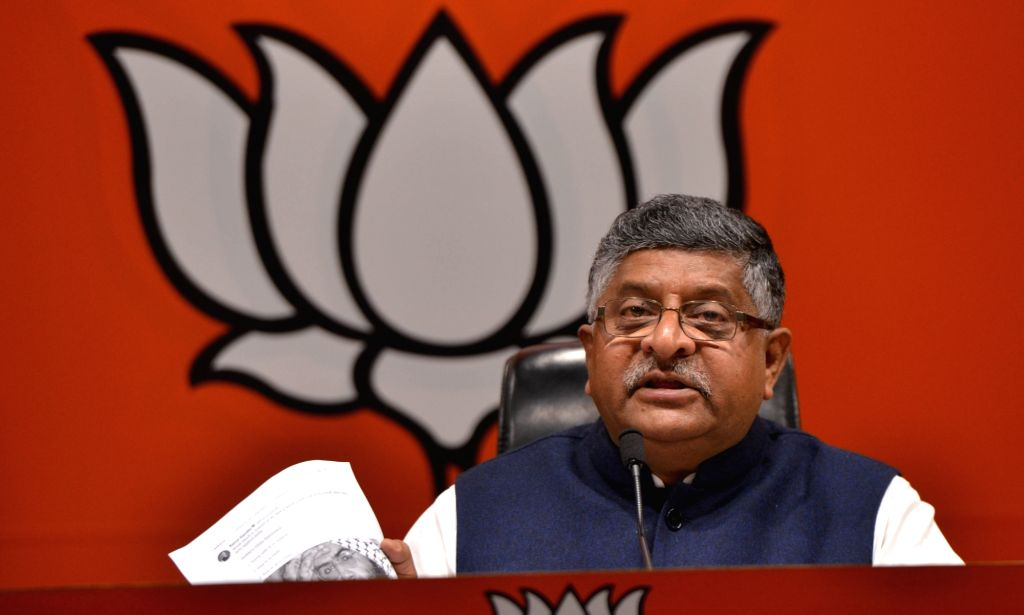 Union Minister and BJP leader Ravi Shankar Prasad addresses a press conference, in New Delhi, on March 14, 2019.