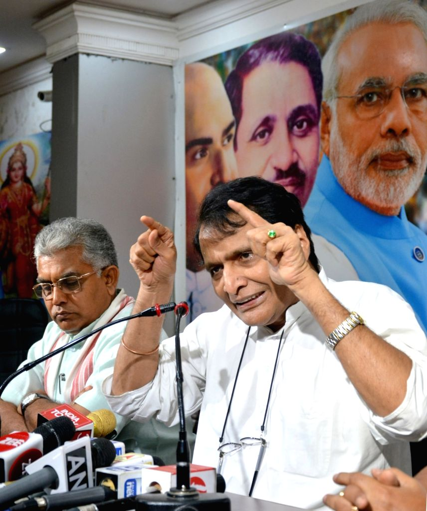 Union Minister and BJP leader Suresh Prabhu addresses a press conference at the party office, in Kolkata on July 8, 2018. - Suresh Prabhu