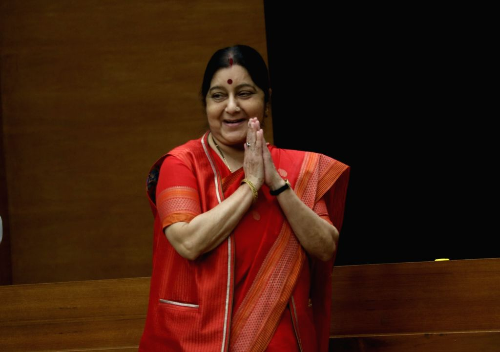 Union Minister and BJP leader Sushma Swaraj during a programme at party's headquarter, in New Delhi, on May 5, 2019. - Sushma Swaraj