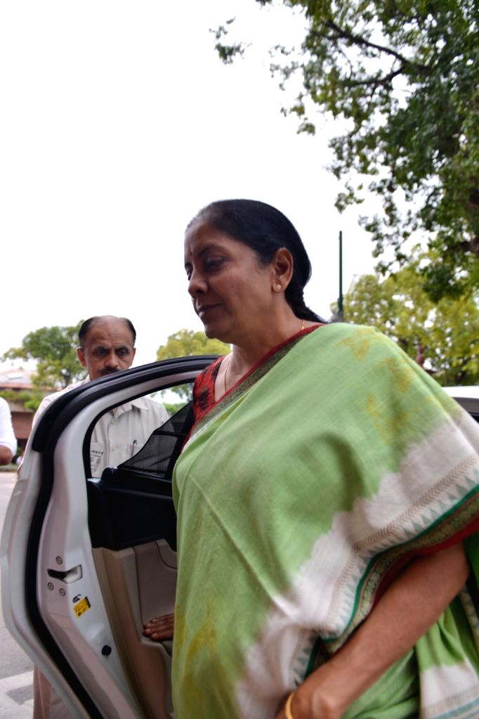 Union Minister and BJP MP Nirmala Sitharaman arrives at Parliament, in New Delhi on July 25, 2018.