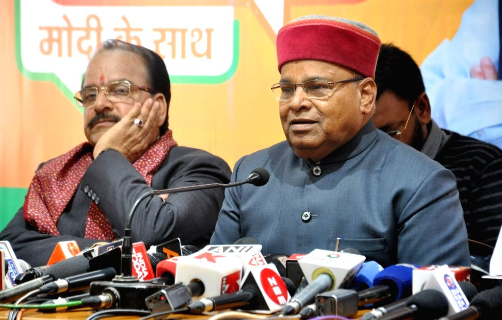 Union Minister and BJP's election in-charge for Uttarakhand, Thawar Chand Gehlot addresses a press conference at the party office in Dehradun, on March 13, 2019.