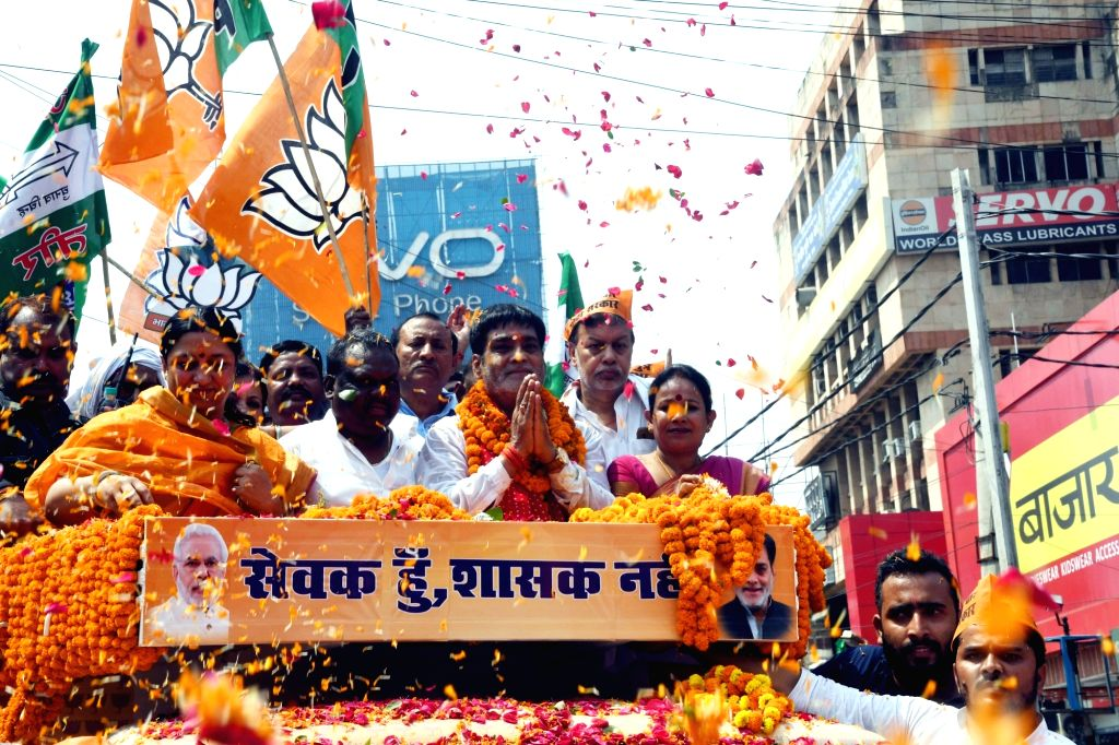 Union Minister and BJP's Lok Sabha candidate from Pataliputra, Ram Kripal Yadav during a roadshow ahead of filing his nomination for the forthcoming Lok Sabha elections, in Patna on April 25, ... - Kripal Yadav