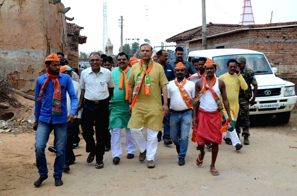 Union Minister and BJP's Lok Sabha candidate from Hazaribagh, Jayant Sinha during an election campaign for the forthcoming Lok Sabha polls, in Jharkhand's Hazaribagh, on April 25, 2019. - Jayant Sinha