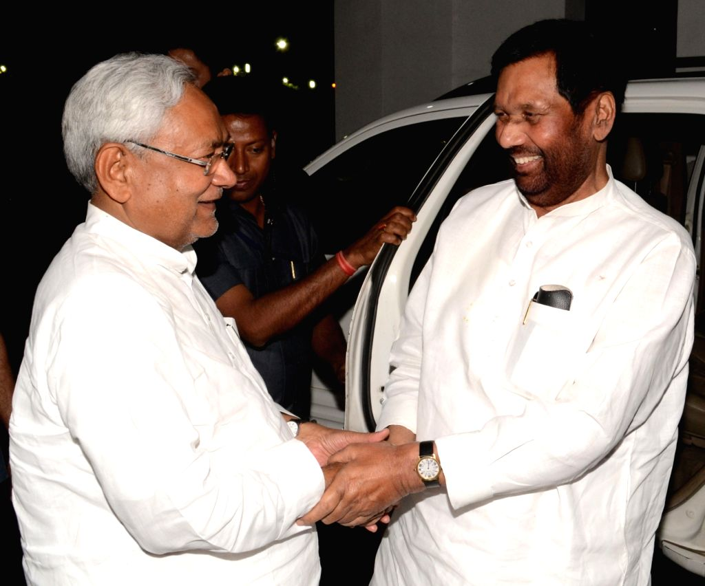 Union Minister and LJP chief Ramvilas Paswan during a meeting with Bihar Chief Minister Nitish Kumar in Patna, on April 8, 2018. - Nitish Kumar
