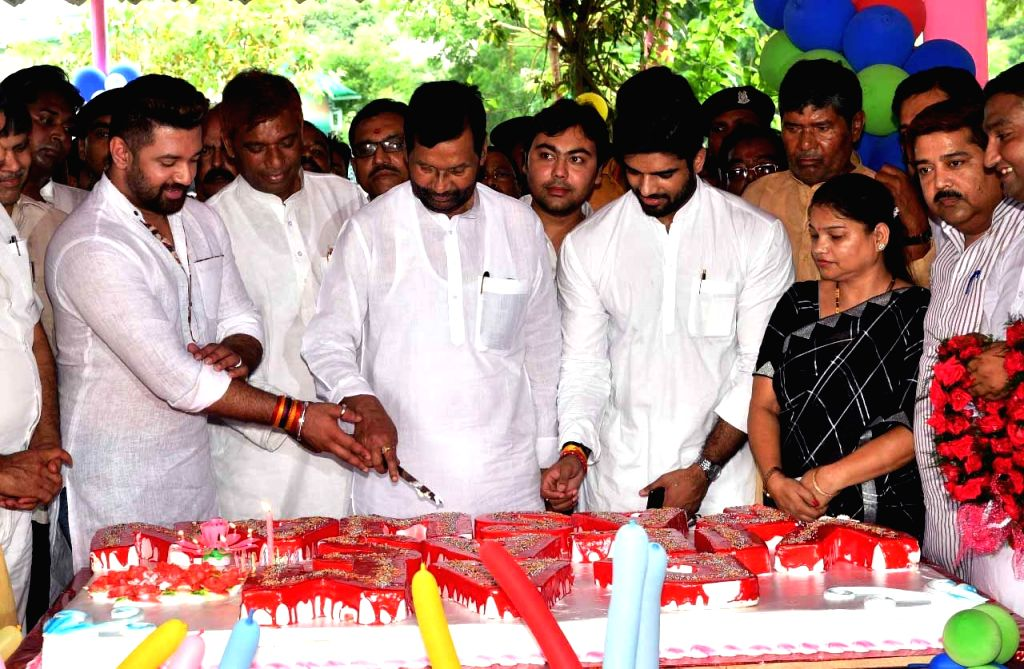 Union Minister and Lok Janshakti Party (LJP) President Ram Vilas Paswan celebrates his birthday along with son Chirag Paswan and LJP leaders Pashupati Kumar Paras and Ram Chandra Paswan and ... - Pashupati Kumar Paras