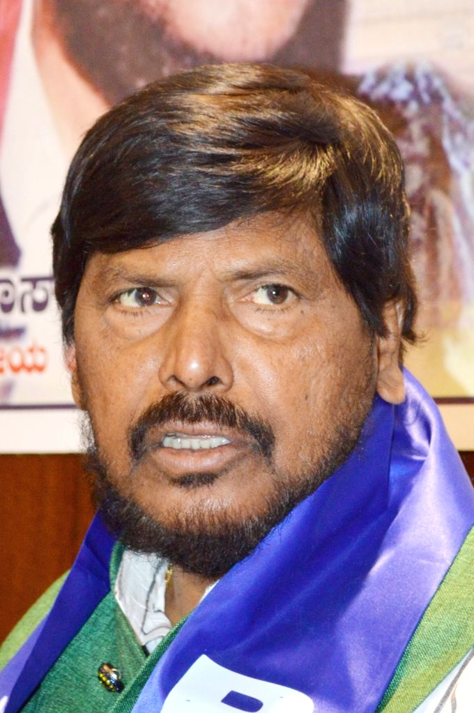 Union Minister and Republican Party of India (RPI-A) President Ramdas Athawale addresses a press conference, in Bengaluru, on April 15, 2019.