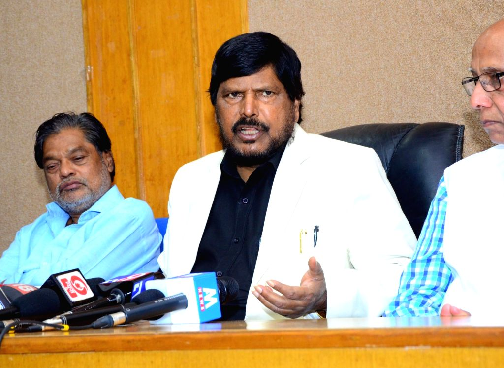 Union Minister and RPI leader Ramdas Athawale addresses a press conference in Nagpur on Feb 23, 2019.