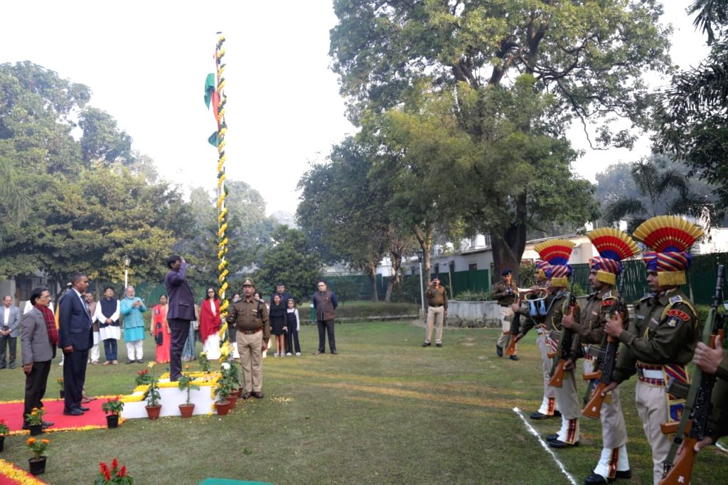 Union Minister Arjun Munda hoists the National Flag on the occasion of India's 71st Republic Day, in New Delhi on Jan 26, 2020. - Arjun Munda