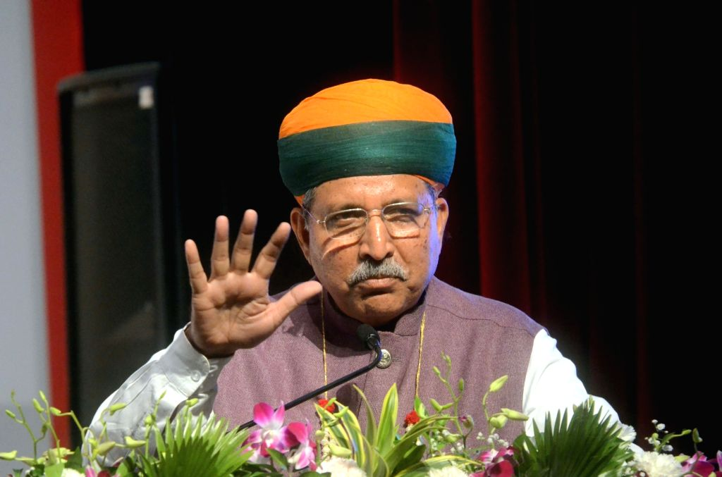 Union Minister Arjun Ram Meghwal addresses during a business conference in Mumbai on July 2, 2017. - Arjun Ram Meghwal