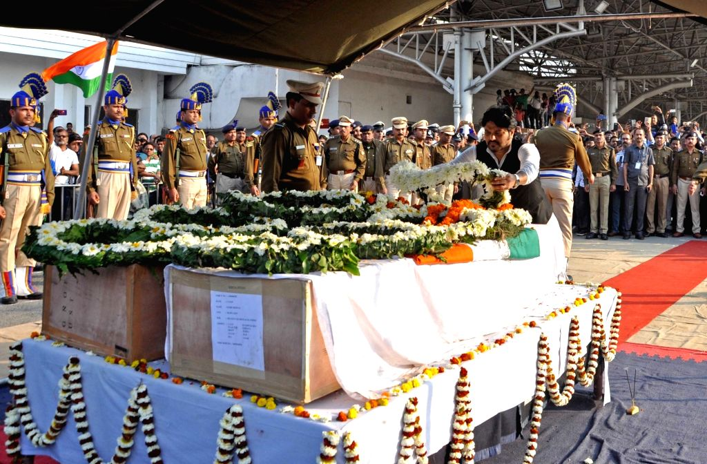 Union Minister Babul Supriyo lays wreath at the coffins of martyrs Bablu Santra and Sudip Biswaws, who were among the 49 CRPF men killed in 14 Feb Pulwama militant attack at Netaji Subhas ... - Babul Supriyo