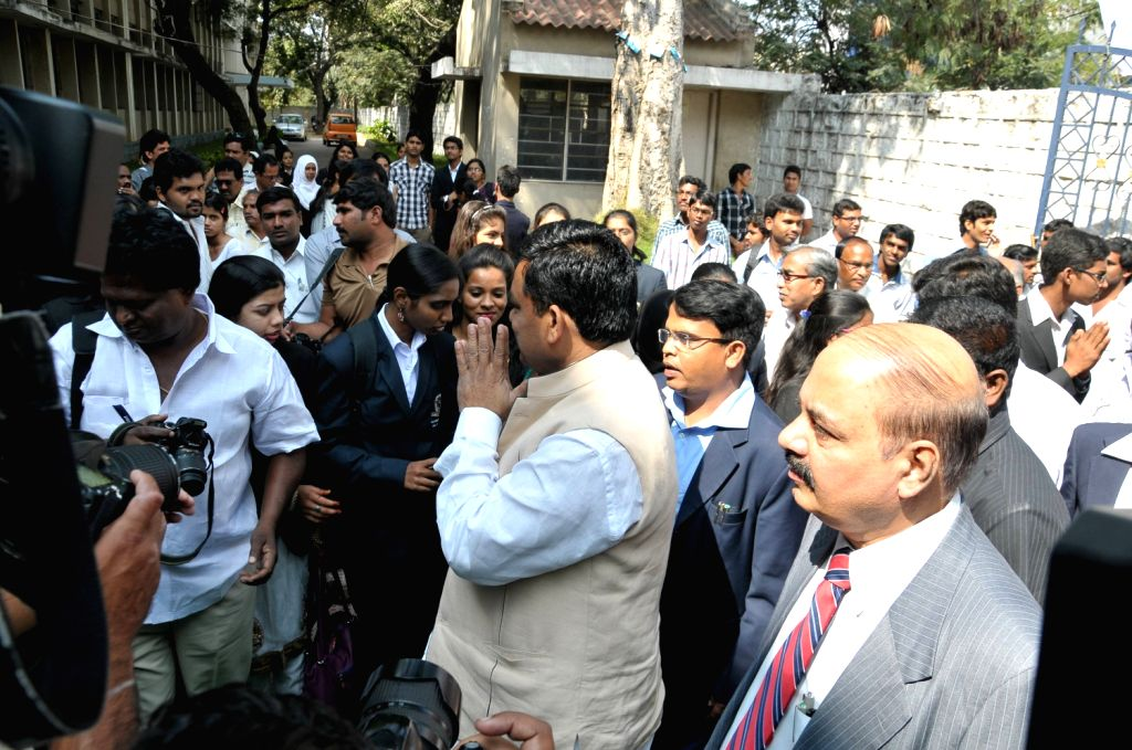 Union Minister Balram Naik unvieling Dr B.R Ambedker Statue and inaugurating Libruary Building of Osmania University PG College of Law in Nizam College Grounds in Hyderabad.