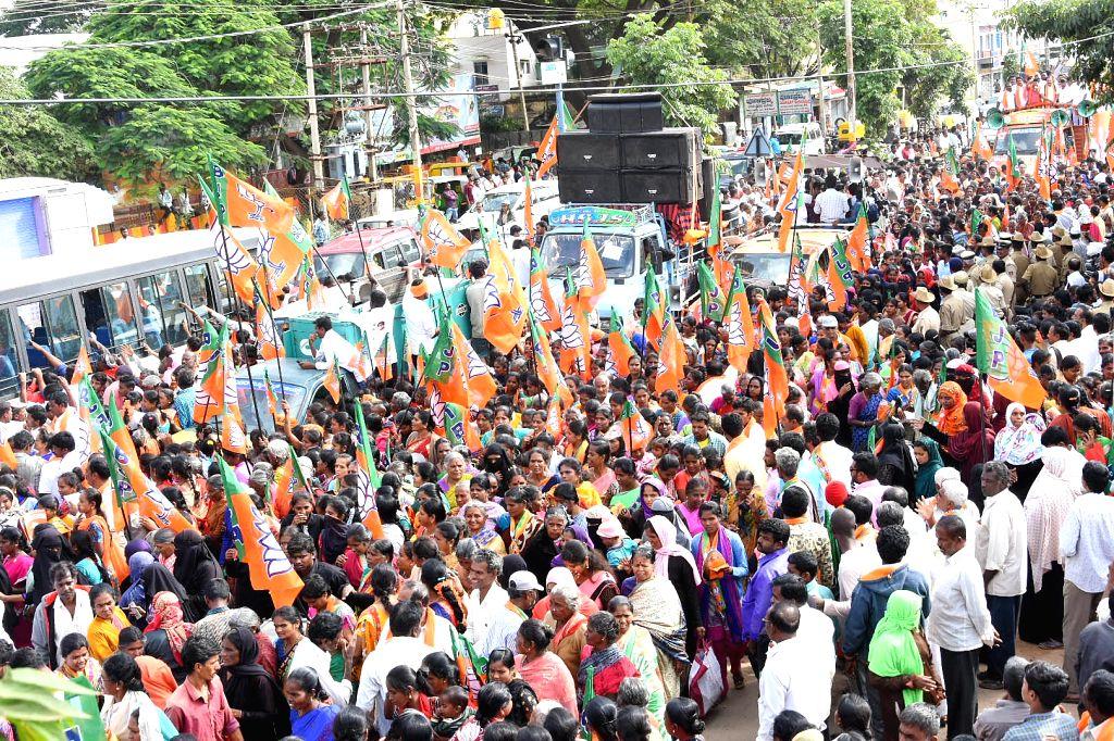 Union Minister DV Sadanada Gowda campaigns for BJP's candidate for Chikkaballapura by polls Sudhakar, in Chikkaballapura on Dec 3, 2019. - D