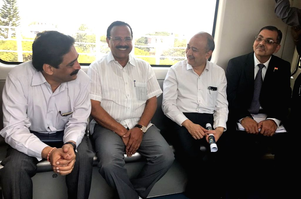 Union Minister DV Sadananda Gowda takes a metro ride in Bengaluru on Jan 16, 2017. - D