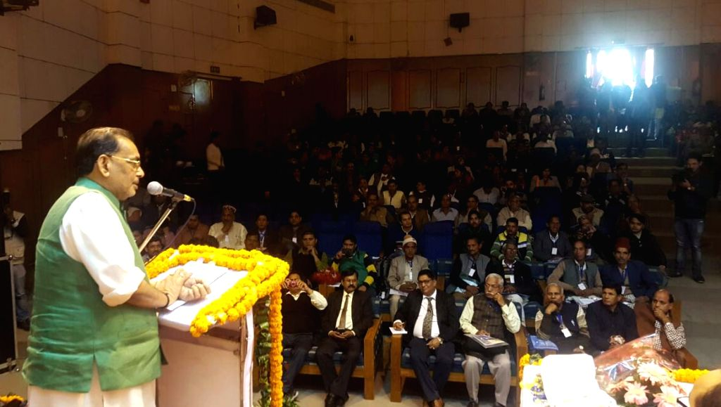 Union Minister for Agriculture and Farmers Welfare Radha Mohan Singh addresses at a conference on Organic Farming, in Dehradun on Nov 27, 2016.